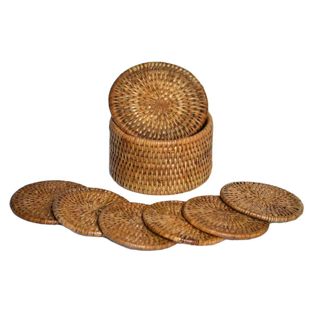 04/9012 6 Round Rattan Coasters with Box