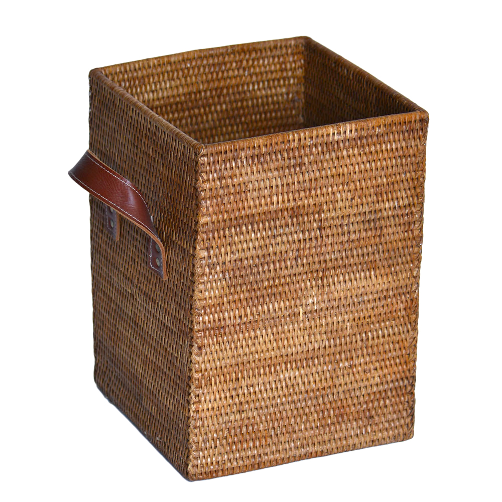08/9LT7 Square Rattan Bin with Leather Handles