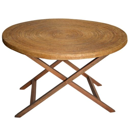 19/9044 120cm Rattan & Teak Round Table