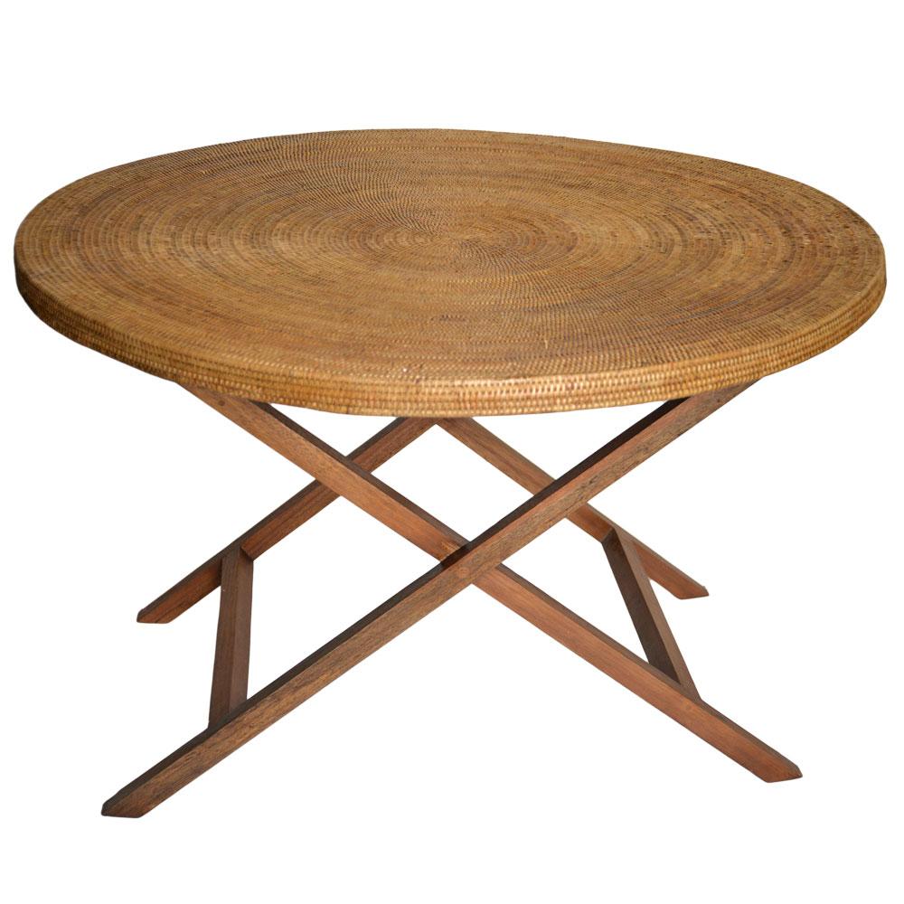 19/9044 120cm Rattan & Teak Round Table