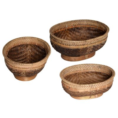 26/600 Set of 3 Oval Split Bamboo Rice Bowls