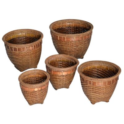 26/601 Set 5 Round Split-Bamboo Pot Holders