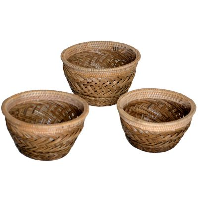 26/627 Set of 3 Round Palm Rib Bowls