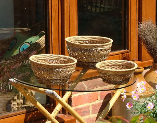 26/627 Set of 3 Palm Rib Bowls Display