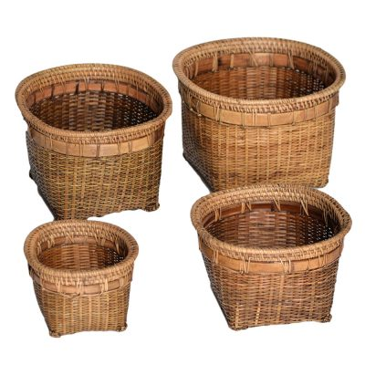 26/629 Set of 4 Square Split Bamboo Pot Covers