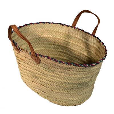 05/3335 Coloured Rim Palm Shopping Basket