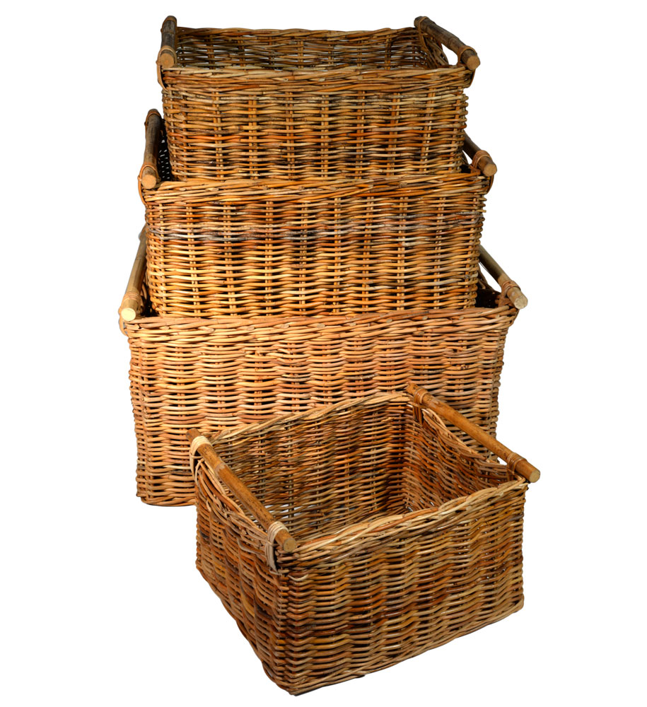 10/081 Set of 4 Pole Handled Oblong Log Baskets