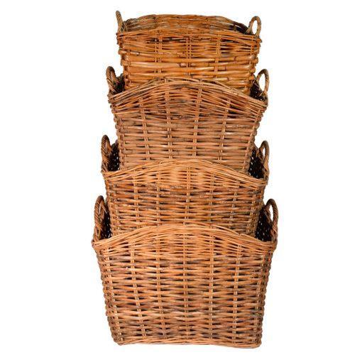 10/084 Set of 4 Split Weave Log Baskets