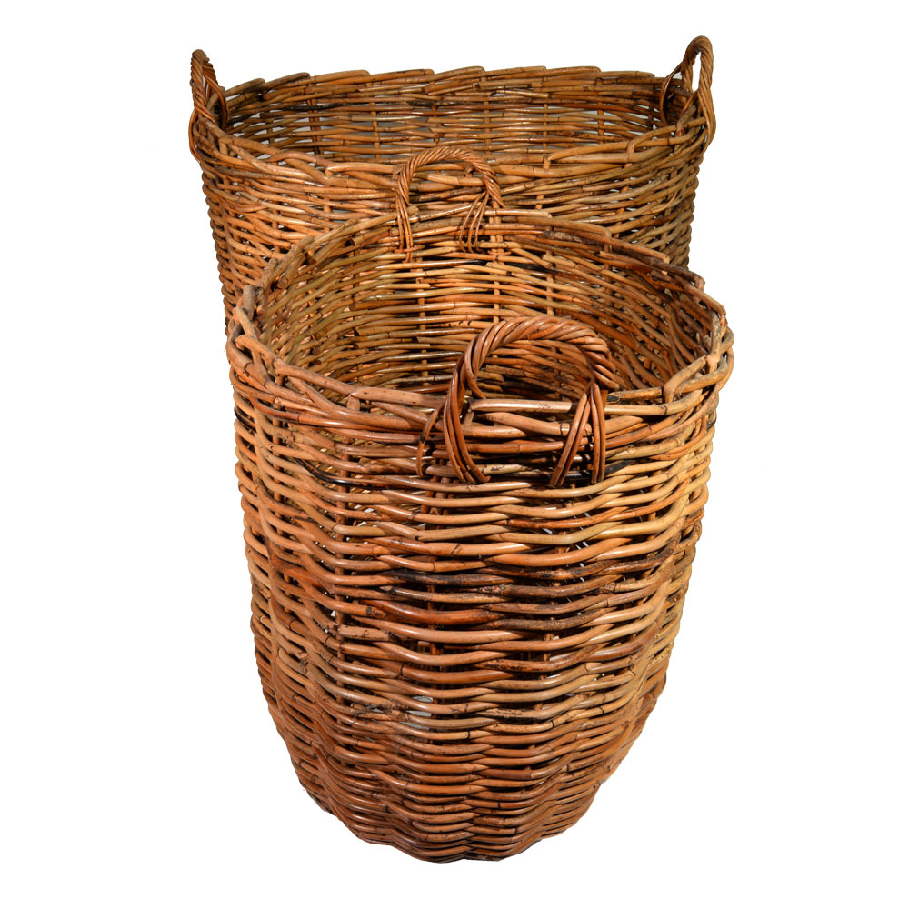 10/086 Set of 2 Giant Oval Log Baskets