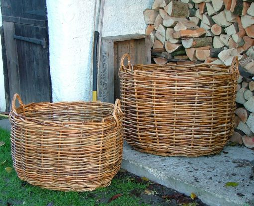 10/086S Set of 2 Small Giant Oval Log Baskets Display