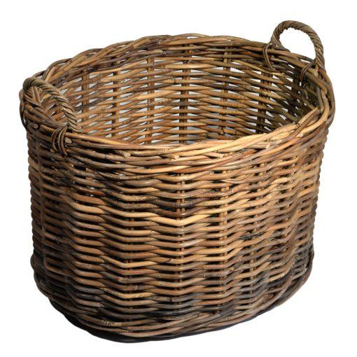 10/086SG Large Oval Grey Chunky Log Basket