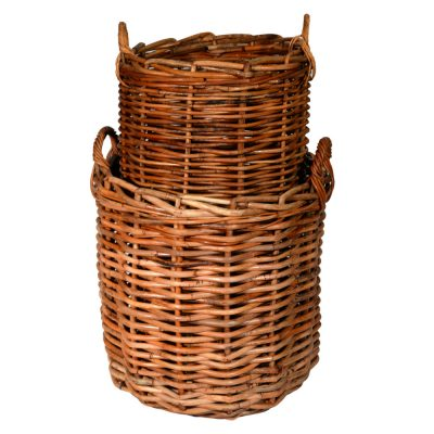 10/087SM Set of 2 Giant Round Chunky Log Baskets