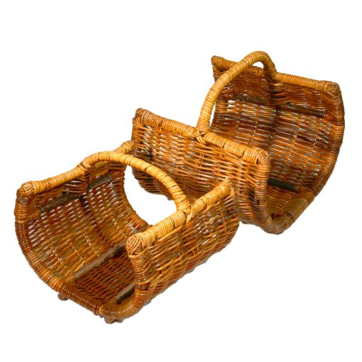 10/1087 Set of 2 Open Ended Barrel Log Baskets