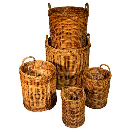 10/122 Set of 5 Natural Round Log Baskets