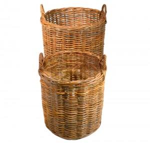 Set of 2 Round Natural Kubu Log Baskets