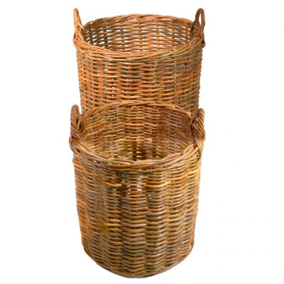 Set of 2 Round Natural Kubu Log Baskets