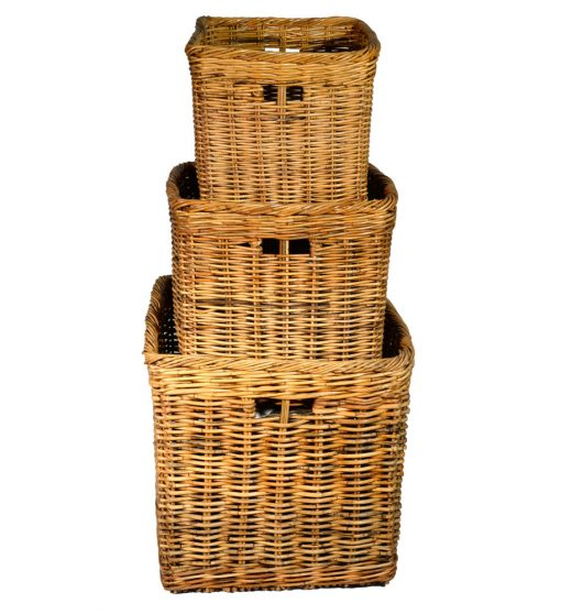 10/180 Set of 3 Square Log Baskets