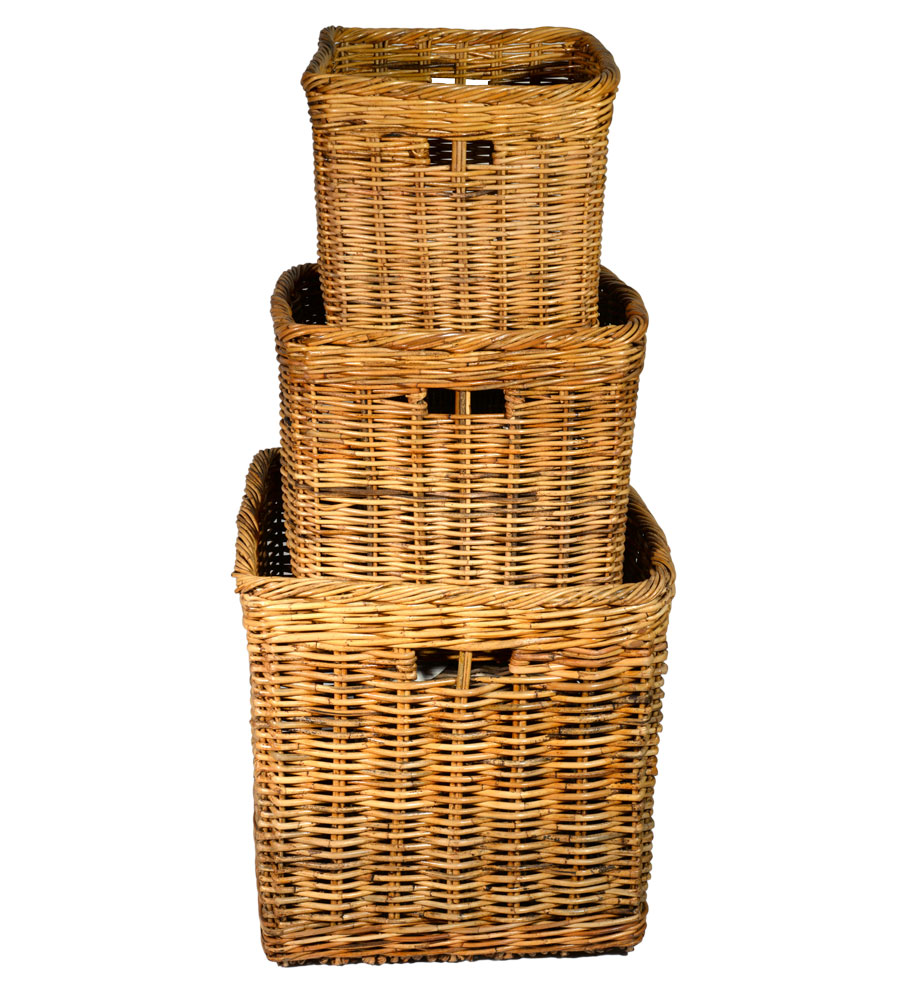 10/180 Set of 3 Square Log Baskets