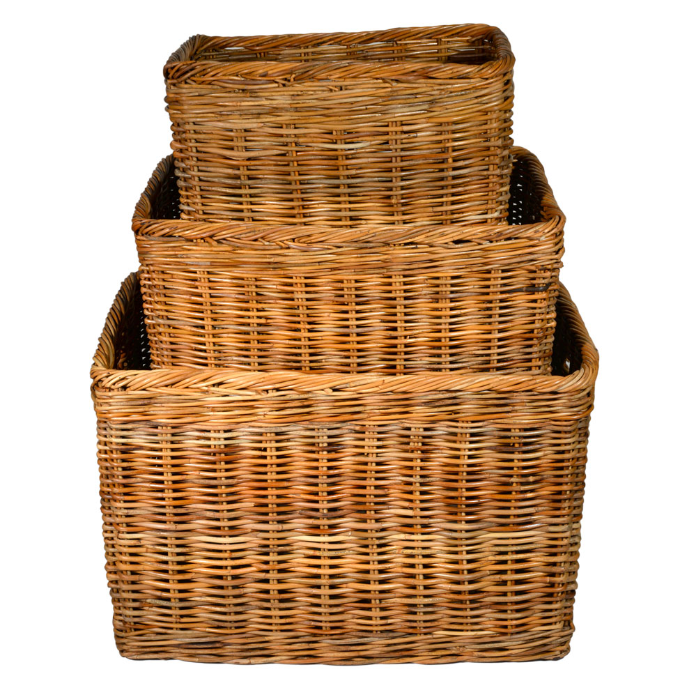 10/181 Set of 3 Large Oblong Log Baskets
