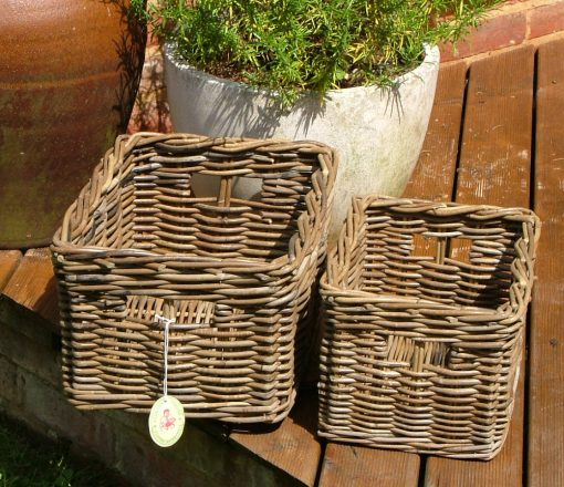 10/412 Set of 2 Grey Storage Baskets Display
