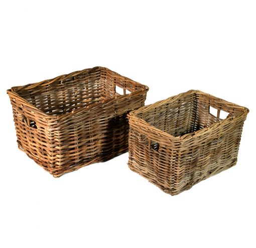 10/412 Set of 2 Grey Storage Baskets