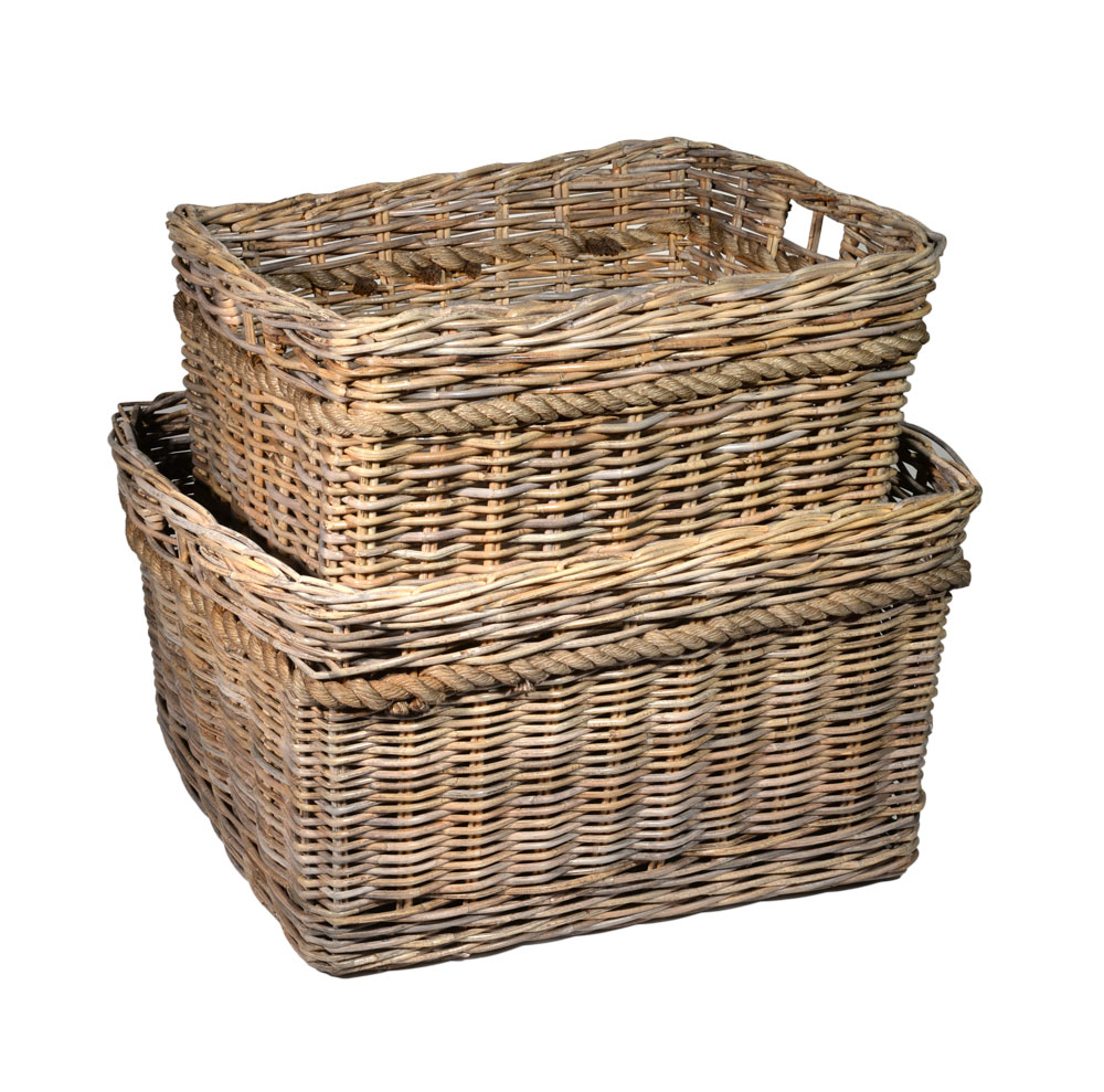 10/6150 Set of 2 Oblong Grey Log Baskets