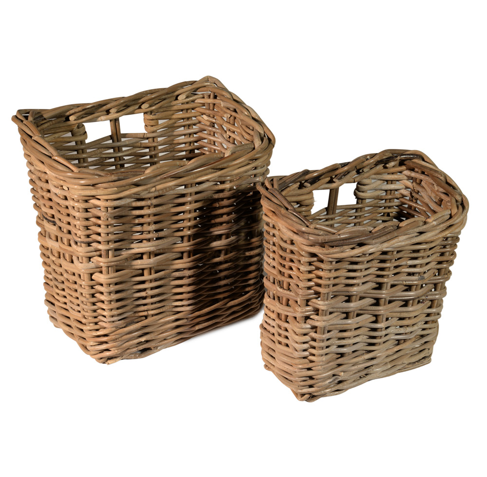 10/6485 Set of 2 Grey Wall Storage Baskets