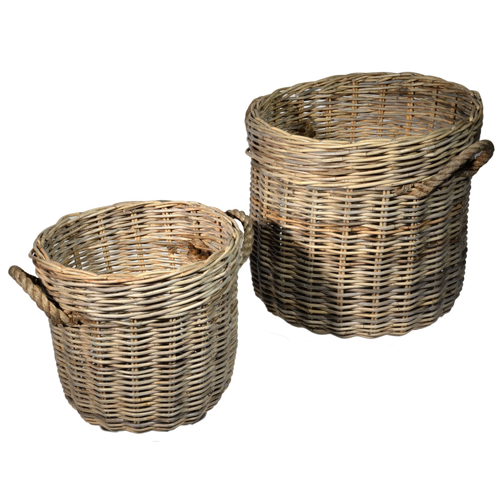 10/6535 Set of 2 Round Greywash Log Baskets