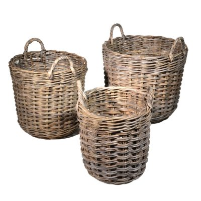 10/6817 Set of 3 Round Greywash Log Baskets