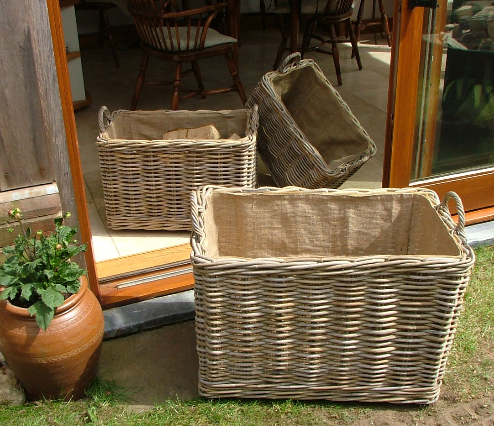10/7000 Set of 3 Oblong Grey Lined Log Baskets Display
