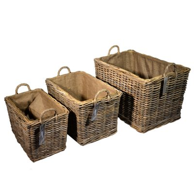 10/7000 Set of 3 Oblong Grey Lined Log Baskets