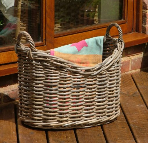 10/7004 Scoop Top Grey Storage Basket Display