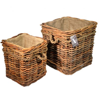 10/7005 Set of 2 Square Ce El Lined Log Baskets on Wheels