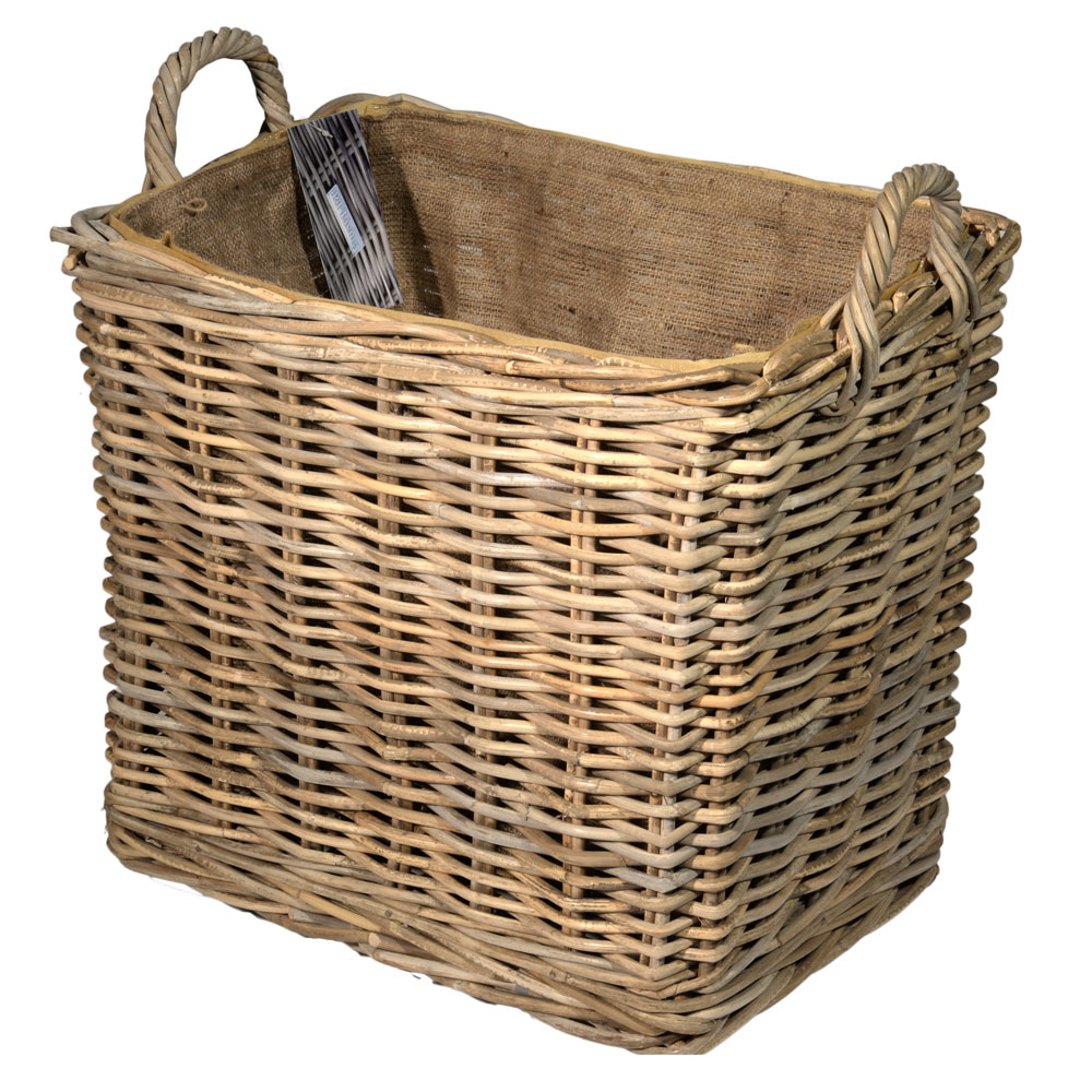 10/7010 Oblong Lined Grey Wheeled Log Basket