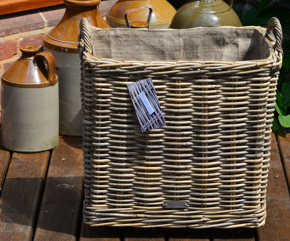 10/7010 Oblong Lined Grey Wheeled Log Basket Display