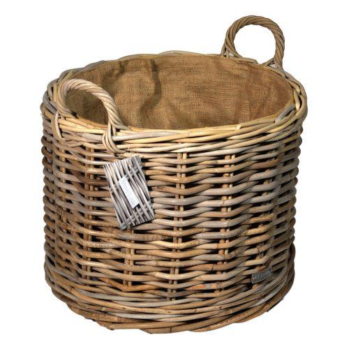 10/7011 Round Lined Grey Wheeled Log Basket