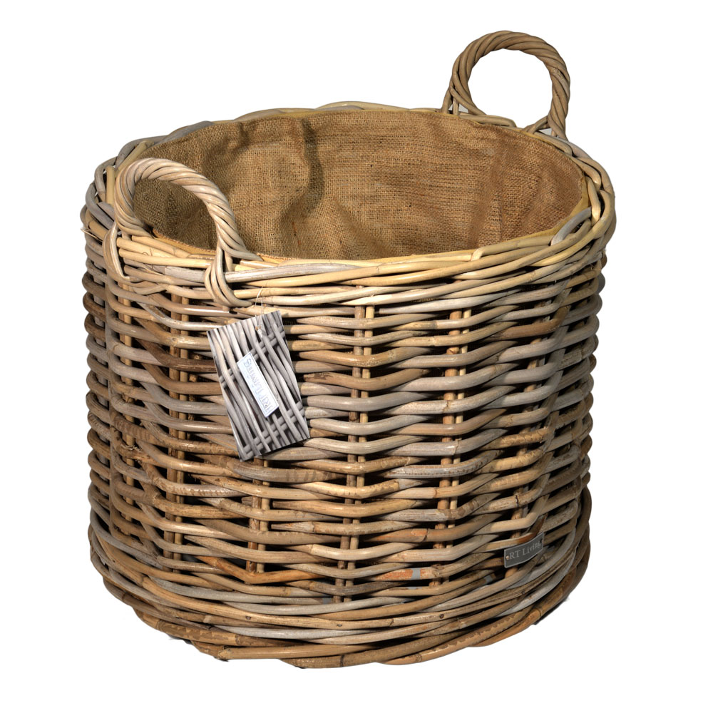 10/7011 Round Lined Grey Wheeled Log Basket