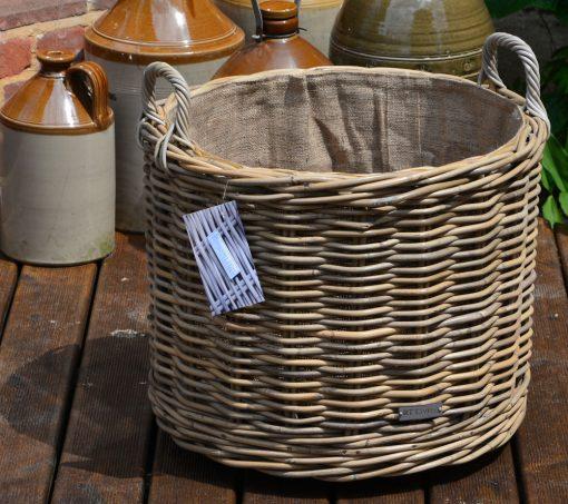 10/7011 Round Grey Wheeled Lined Log Basket