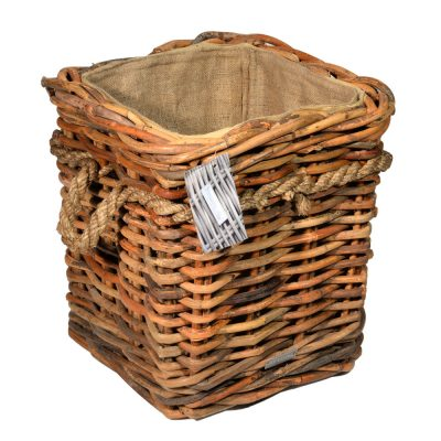 10/7015 Square Natural Ce el Lined Rope Handle Wheeled Log Basket