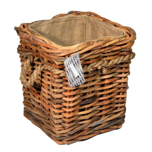 10/7015 Square Natural Ce el Lined Rope Handle Wheeled Log Basket
