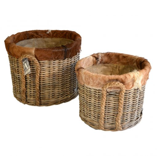 10/7031 Set of 2 Round Grey Log Baskets Goat Skin Trim Lined on Wheels