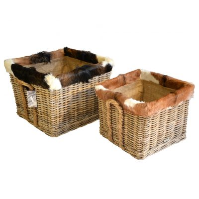 10/7032 Set of 2 Square Grey Log Baskets with Goat Skin Trim Lined on Wheels