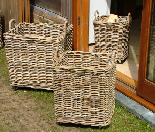 10/8001 Set of 3 Wheeled Square Grey Log Baskets Display