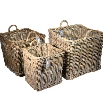 10/8001 Set of 3 Wheeled Square Grey Log Baskets
