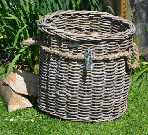 10/8003 Oval Grey Rope Handled Log/Storage Basket Display