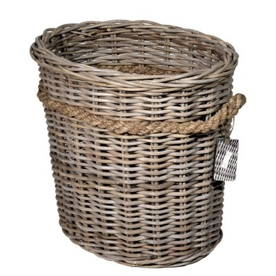 10/8003 Oval Grey Log-Basket with Rope Handles
