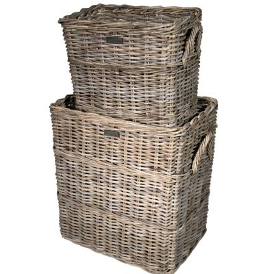 10/8004 Set of 2 Tall Oblong Grey Log Baskets