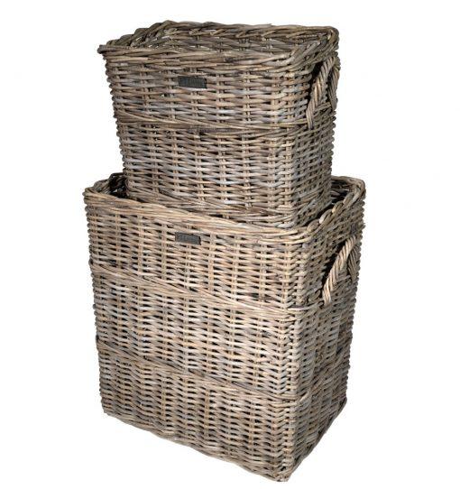 10/8004 Set of 2 Tall Oblong Grey Log Baskets