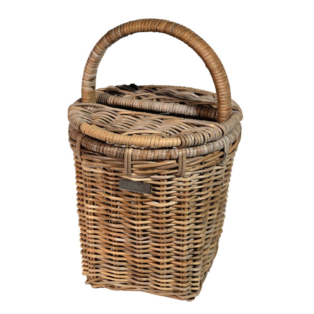 10/8013 Round Grey Picnic Basket