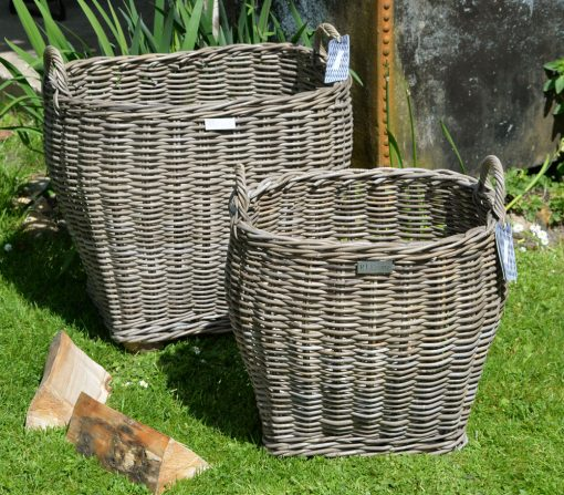10/8017-8018 Large & Small Oval Top Grey Log Basket Display